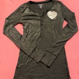 VS Pink Sparkly Long Sleeve with Heart Detail